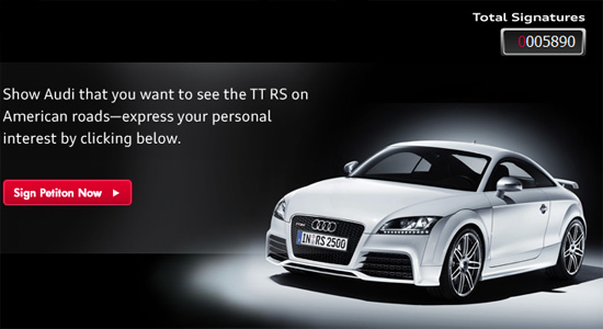 Audi starts Facebook petition for the TT RS